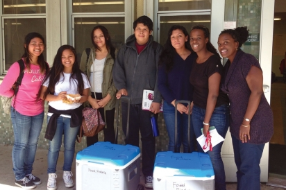 Food Finders Board Members and Poly High Students